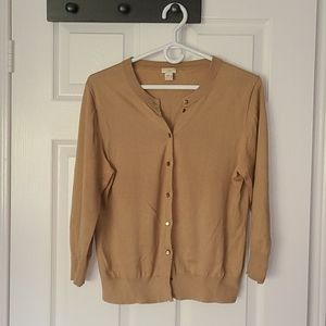 J.Crew cardigan, tan with cropped sleeves